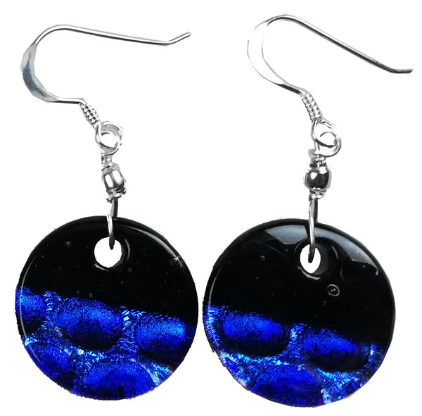 Dichroic Earing Two Tone Black Dark Blue