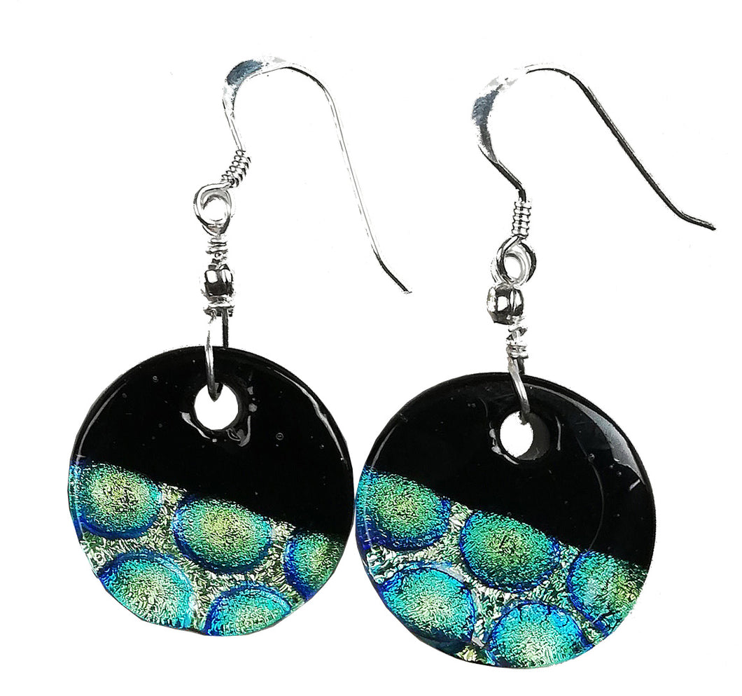 Dichroic Earing Two Tone Black Green He