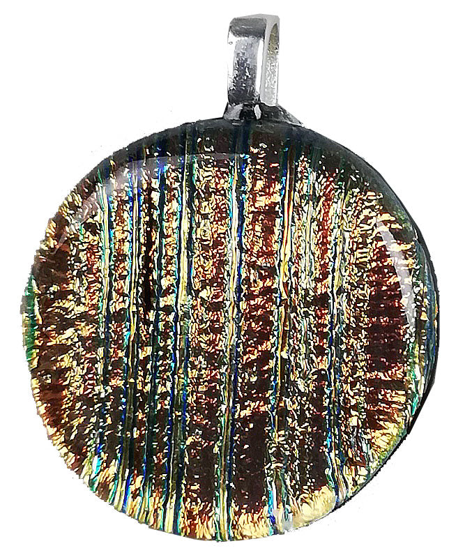 Dichroic Glass , Copper Lines  ,  round pendant