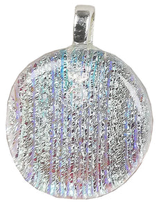 Dichroic Glass , Clear  Lines  ,  round pendant