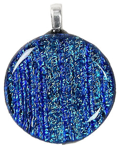 Dichroic Glass , Blue Lines  ,  round pendant