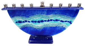 Menorah  or Janukia Aqua Blue  half circle