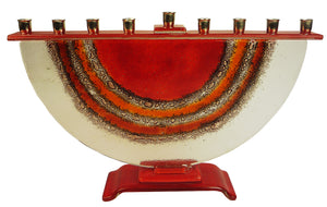Menorah  or Janukia Red . Orange ,bubbles half circle