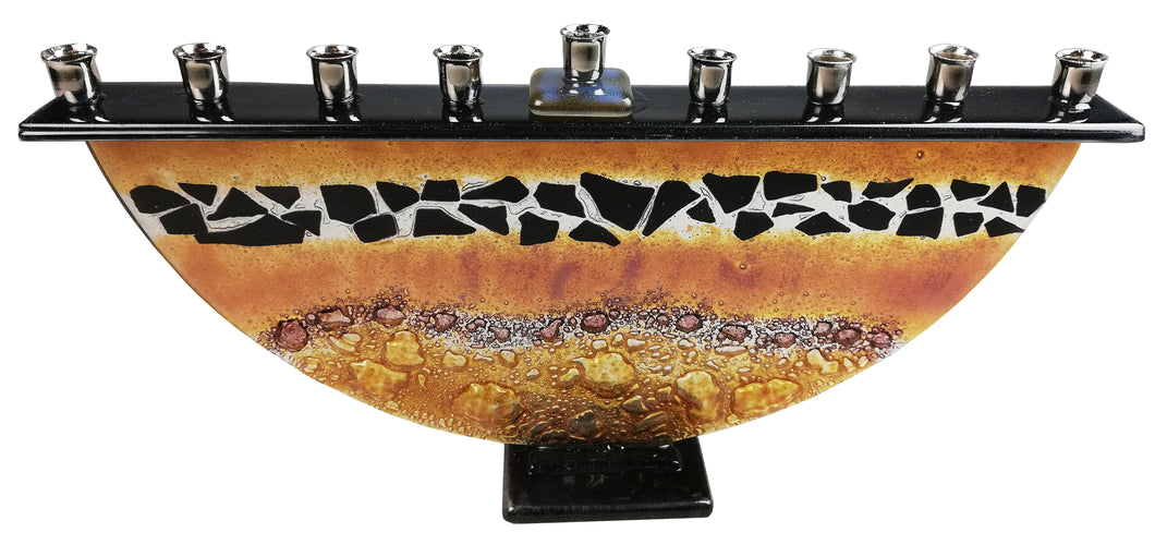 Menorah  or Janukia Black Flakes Topaz ,bubbles half circle