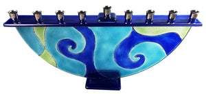 Menorah  or Janukia  Aqua Blue Swirls Pattern  half circle