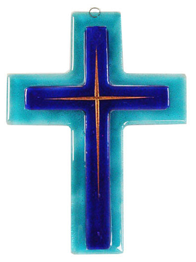 Glass Cross Double Thin Gold lines