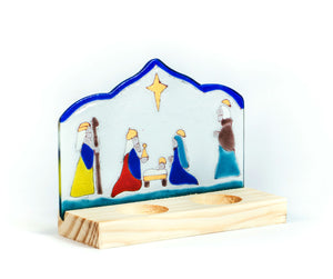 Teligth Nativity Scene double candle