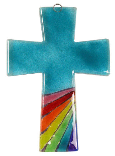 Trapeze Glass Cross Rainbow Aqua