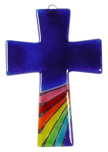 Trapeze Glass Cross Rainbow Blue