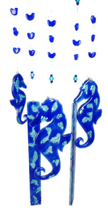 Windchime  SeaHorses Aqua Blue Bubble