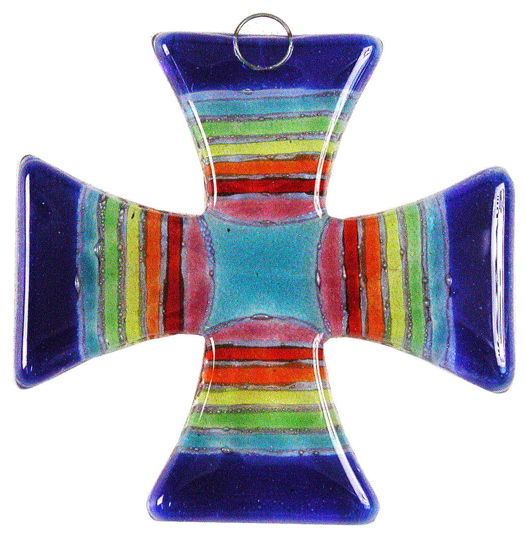 Glass Cross Rainbow Blue