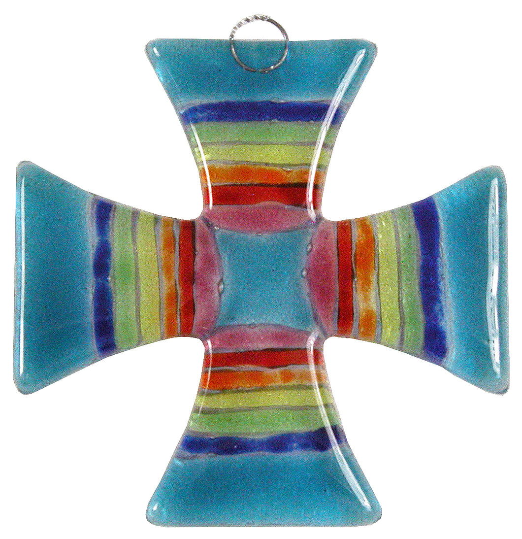 Glass Cross Rainbow Aqua