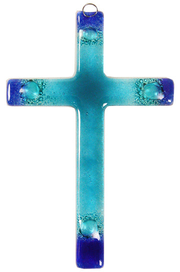 Glass Cross Rainbow Aqua Blue