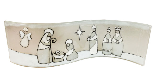 Wavy Nativity Scene White Mary , Joseph , Baby , Angel and the Kings