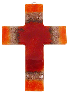 Glass Cross Red Orange Thick