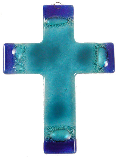 Glass Cross Aqua Blue Thick