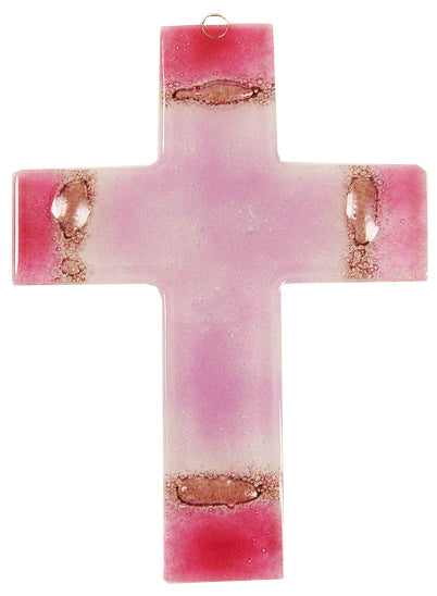 Glass Cross Rose Ligth Rose Thick