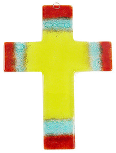 Glass Cross Yellow red Thick