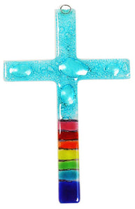 T  Glass Cross Rainbow Aqua Bubbles