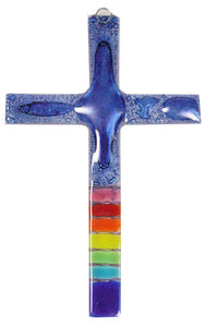 T  Glass Cross Rainbow Blue Bubble