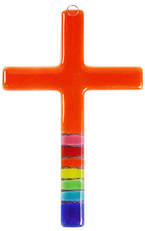 T  Glass Cross Rainbow Organge