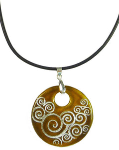 Recycled Glass Bottle Swirls Amber Round Necklace