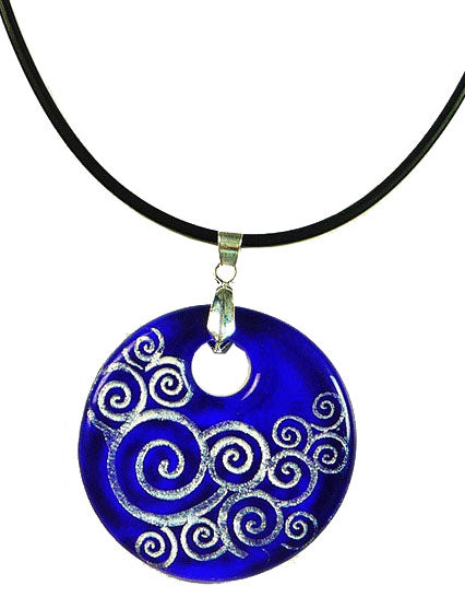 Recycled Glass Bottle Swirls Blue Round Necklace