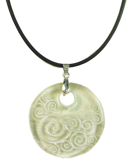 Recycled Glass Bottle SwirlsTransparent Round Necklace