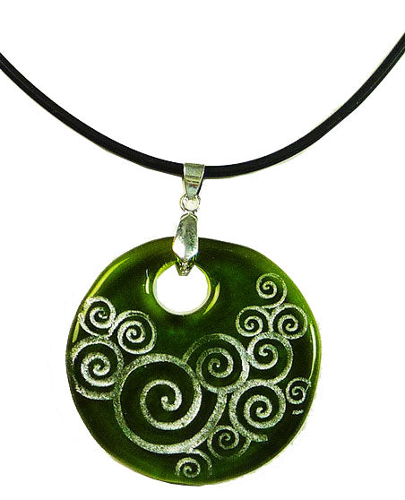 Recycled Glass Bottle Swirls Green Round Necklace