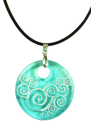 Recycled Glass Bottle SwirlsTurquoise Round Necklace