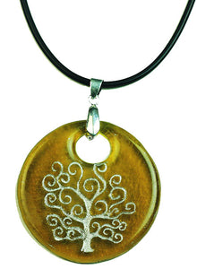 Recycled Glass Bottle Life of Tree Amber Round Necklace