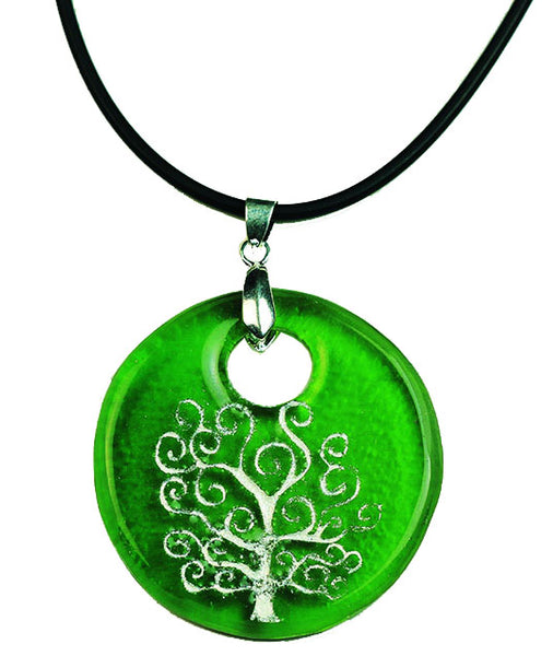 Recycled Glass Bottle Life of Tree Green Round Necklace