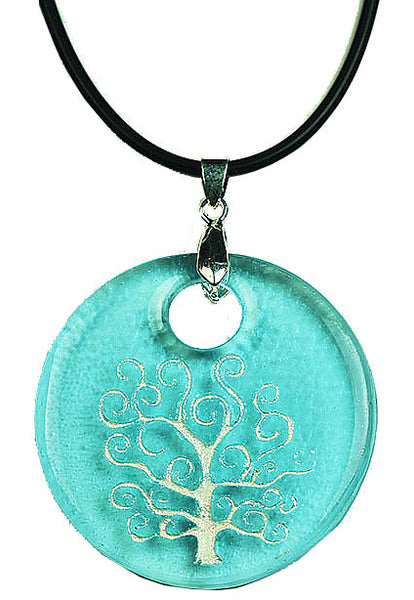 Recycled Glass Bottle Life of Tree Turquoise Round