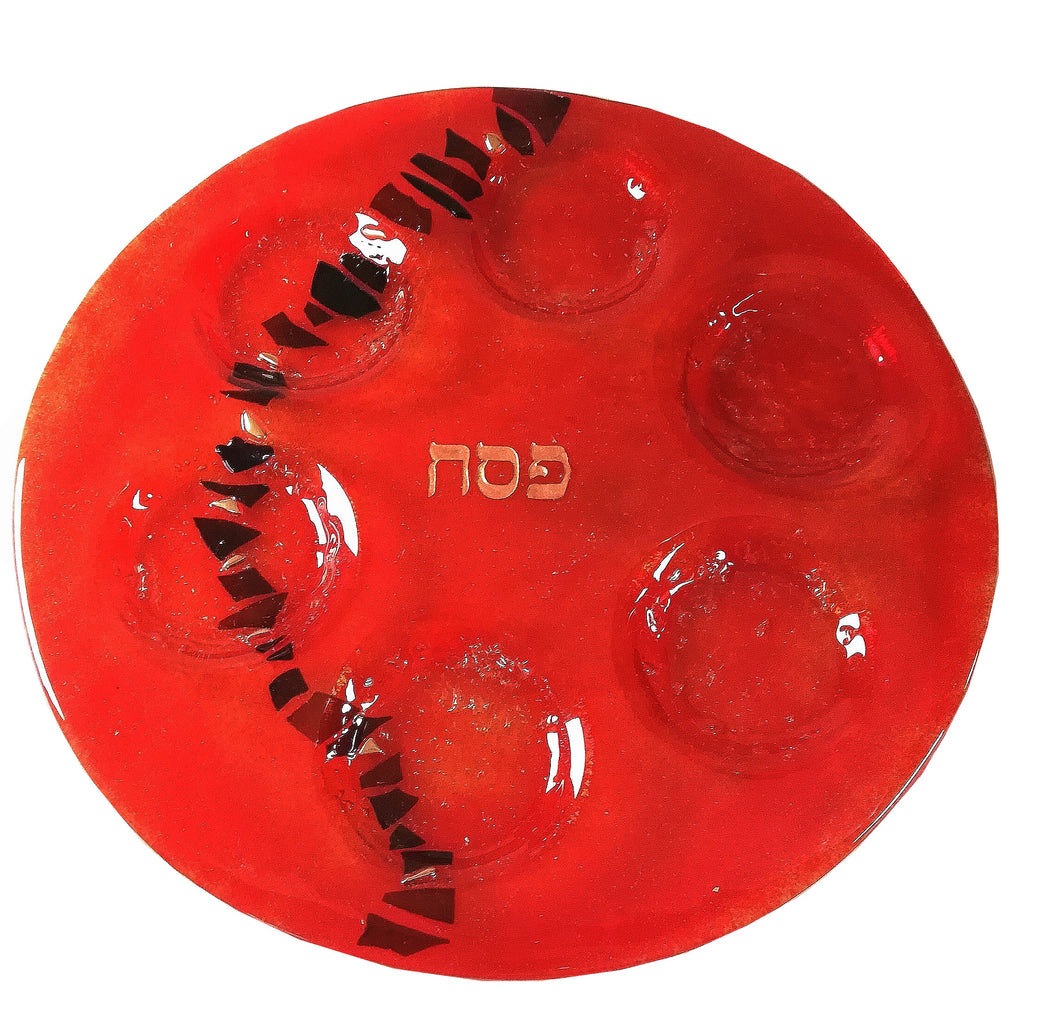 Pesaj -Seder Plate Cherry Red   Path