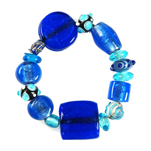 Glass Beads  Bracelet Silver Foil Blue