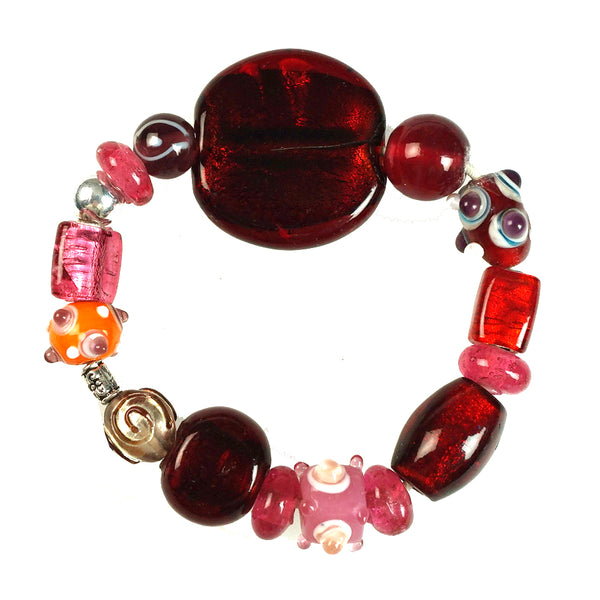 Glass Beads  Bracelet Silver Foil Red