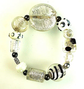 Glass Beads  Bracelet Silver Foil White