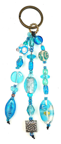Glass Beads  Keychain Silver Foil Turquoise