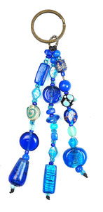 Glass Beads  Keychain Silver Foil Blue
