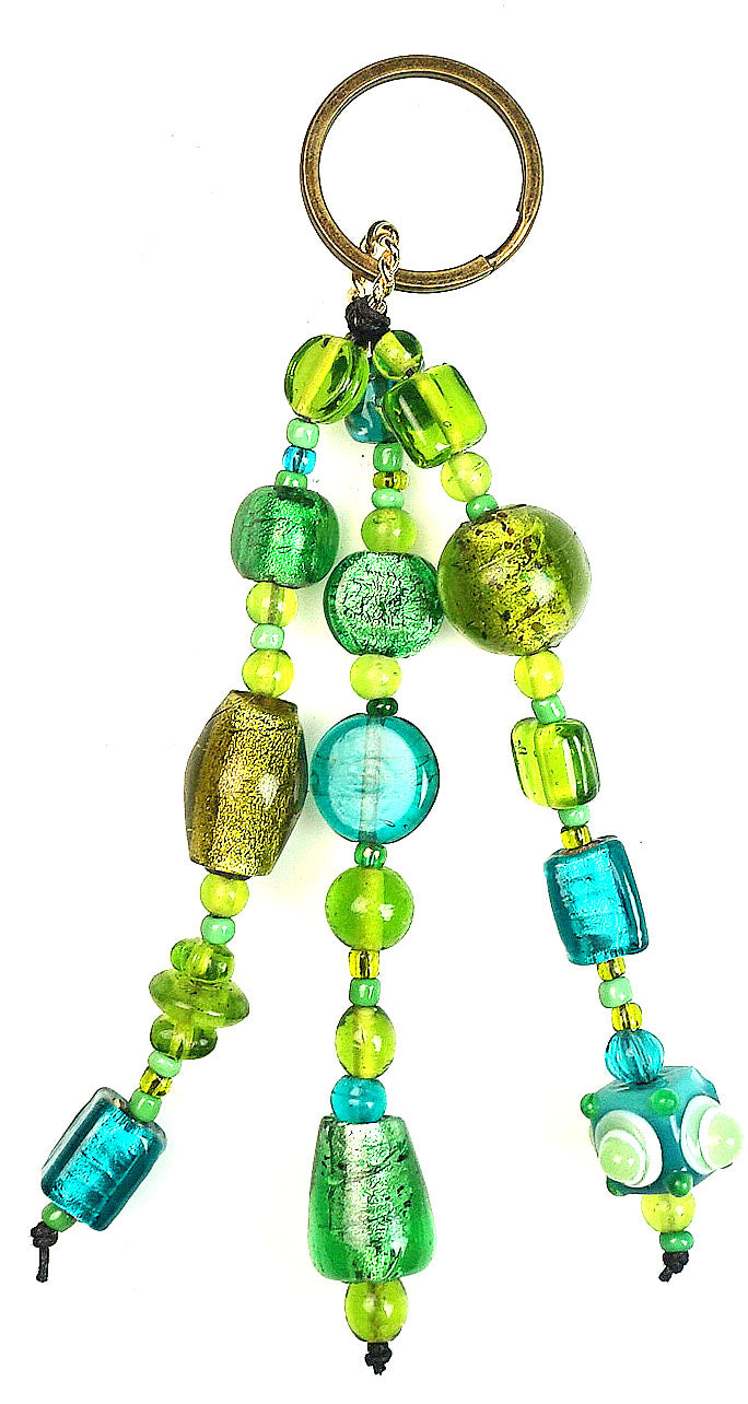 Glass Beads  Keychain Silver Foil Green