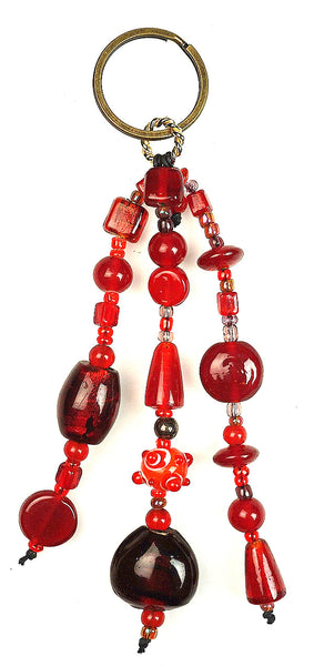 Glass Beads  Keychain Silver Foil Red