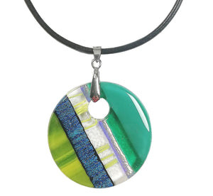 Dichroic Lemon Green Necklace
