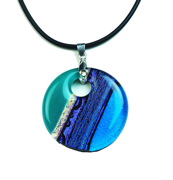 Dichroic Blue Turquoise Necklace