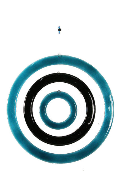 Windchime  3 Circles Aqua Black