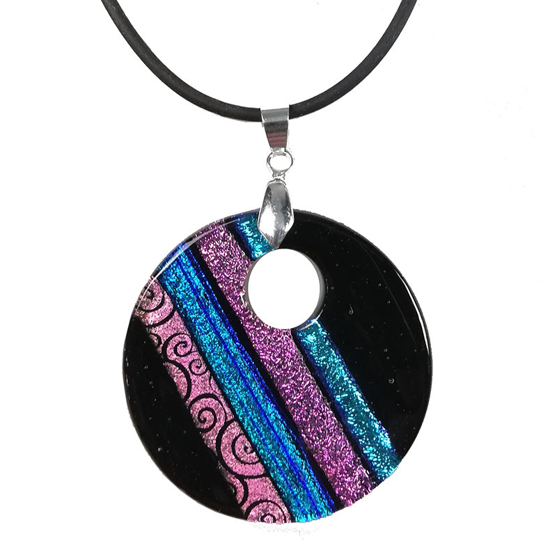 Dichroic Dark Pink Necklace