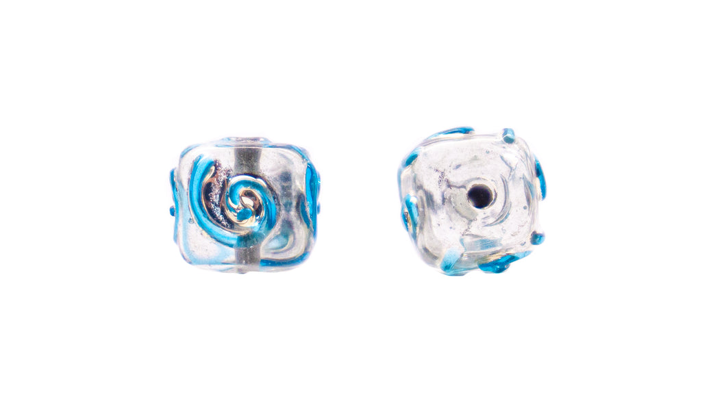 Cubed Striped Lampwork Glass Beads