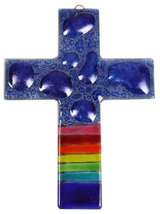 Glass Cross Rainbow Blue Bubbles Thick