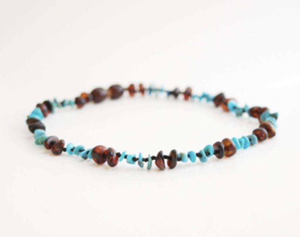 Baltic Amber Necklace- Chesnut Turquoise - Molly Pop Boutique