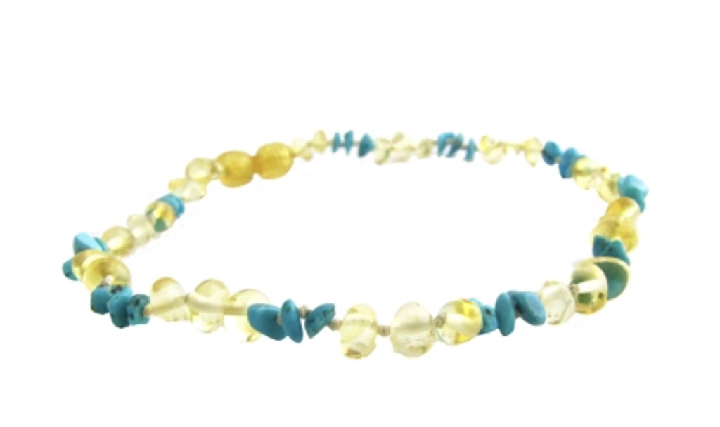 Baltic Amber Adult Necklace- Lemon Turquoise Chips - Molly Pop Boutique