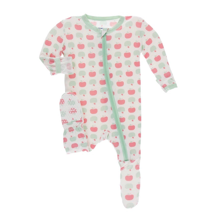 Kickee Pants Zipper Footie - Natural Apples
